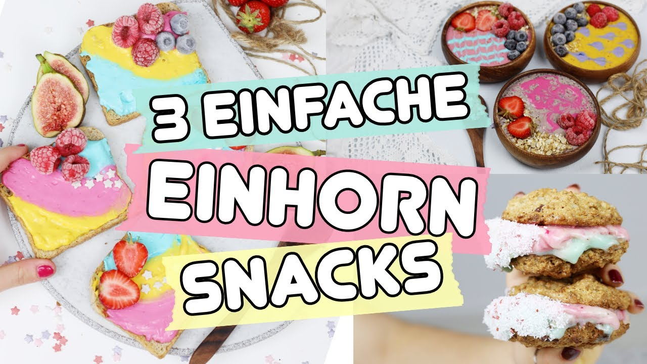 3 einfache einhorn snacks selber machen einhorn toasts smoothie bowl cookies youtube. Black Bedroom Furniture Sets. Home Design Ideas