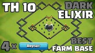 Clash of Clans TH10 Farming Base (Dark Elixir Base) 2016 + 4 x Replays