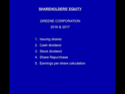 Shareholders' Equity, Greene Corp, 2016, Video 1