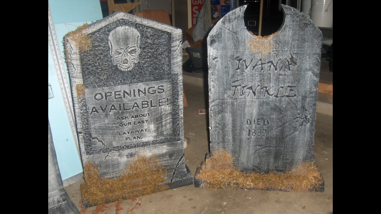 Staging Halloween tombstones and other props - YouTube