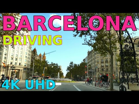 Driving through Barcelona in October 2020 @ 4K UHD: av. Diagonal, Paseo de Gracia, plaza Catalonia