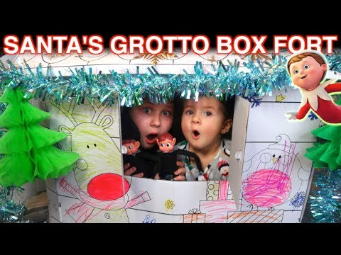 SANTA'S GROTTO BOX FORT CHRISTMAS PRESENT FOR MY ELF ON THE SHELF!!
