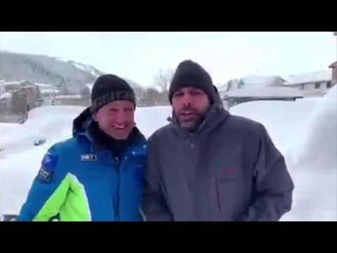 Checco Zalone bloccato per la neve a Roccaraso: il siparietto con il sindaco