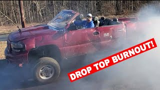Turning the Whistlin' Diesel Duramax into a CONVERTIBLE! Bonus BURNOUT!
