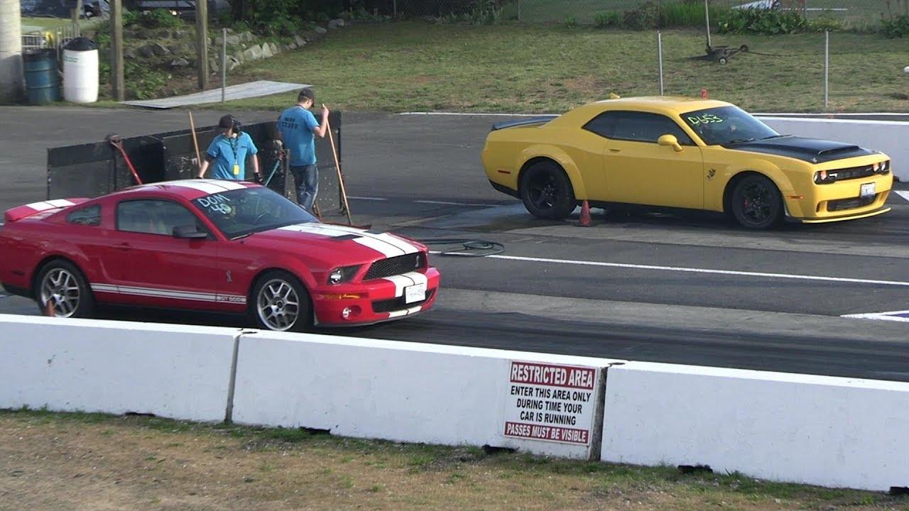 Demon vs Shelby GT500 -drag race - YouTube