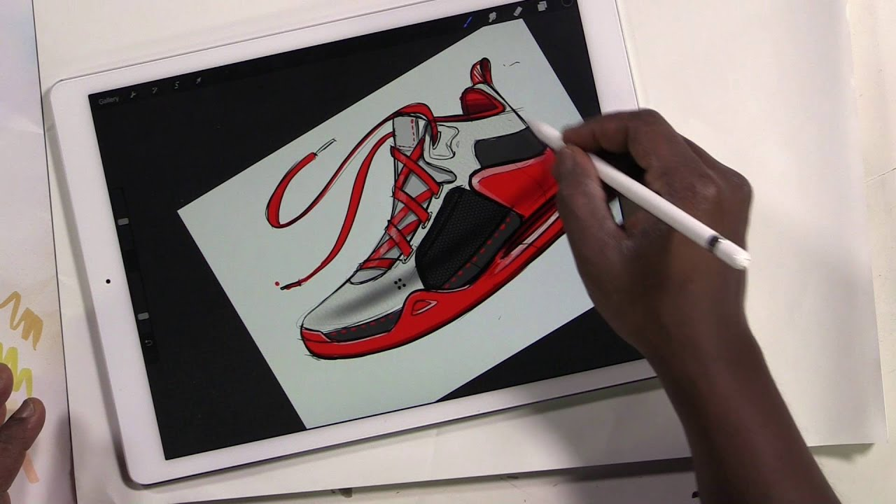 Ipad Pro Draw Basketball Shoe Adding Color And Texture