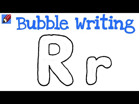 How To Draw Bubble Writing Real Easy Letter R Youtube