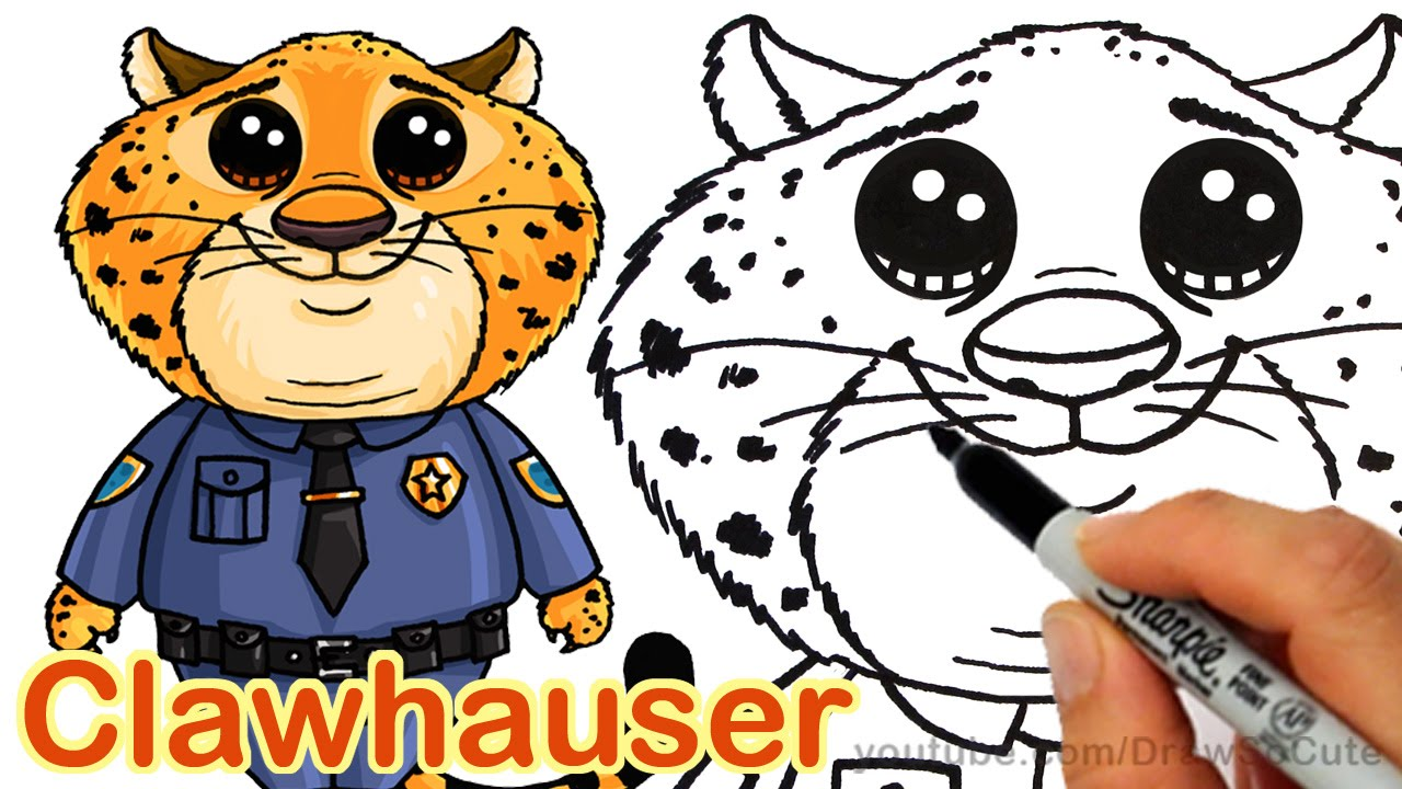 how to draw clawhauser from disney zootopia cute stepstep - youtube