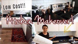 Easy! KITCHEN MAKEOVER! | $35 Kitchen Backsplash | Peel and Stick Wallpaper