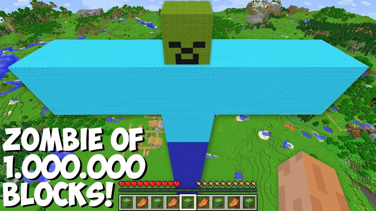 Never SPAWN A ZOMBIE FROM 1,000,000 BLOCKS in Minecraft ! INCREDIBLY HUGE ZOMBIE !