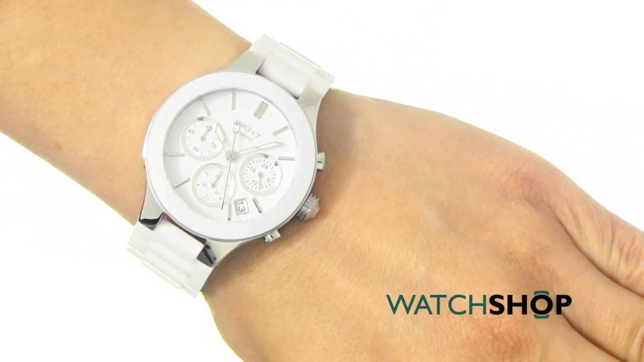 8354eee18 DKNY Ladies' Chambers Ceramic Chronograph Watch (NY4912) - YouTube