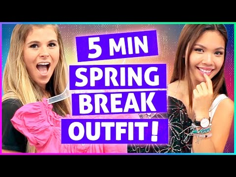 5 MINUTE SPRING BREAK OUTFIT CHALLENGE! | Vintage Revamp w/ Tiffany Ma & Julia Cates