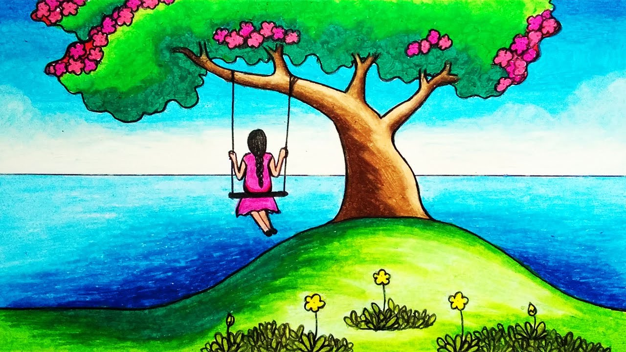 How to Draw Easy Scenery of a Girl Swinging in a Tree Step by Step | Simple Nature Scenery Drawing