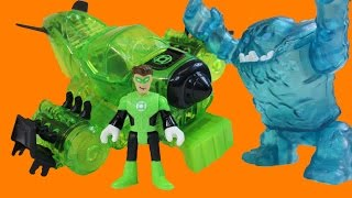 Imaginext Green Lantern Jet Destroys Clayface Mr. Freeze And The Freeze Jet