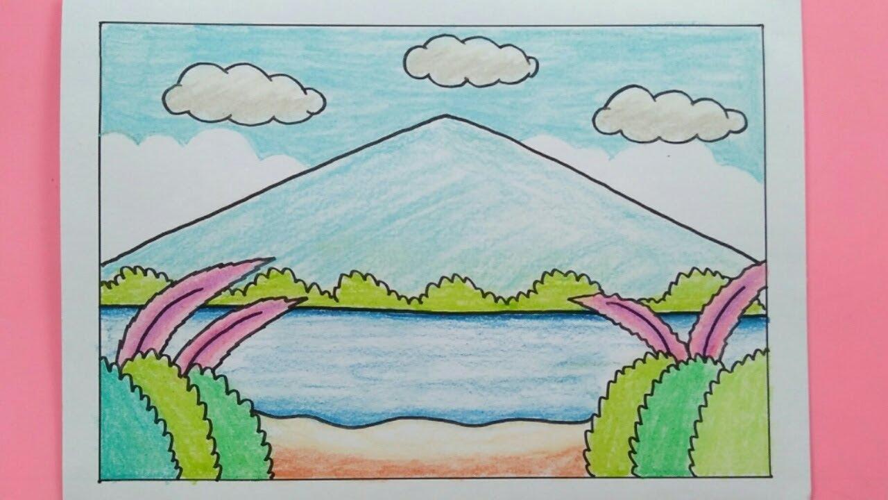 Cara Menggambar Pemandangan Alam Yang Mudah By Mari Belajar Menggambar
