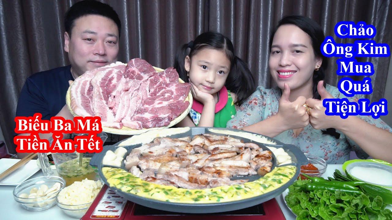 Đi Ngân Hàng Gửi Tiền Biếu Ba Má Ở Việt Nam Ăn Tết & Ông Kim Mua Chảo Đãi Vợ Con Món Thịt Nướng