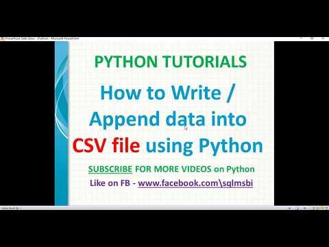 python tutorial | write or append data to csv file using python | python writing csv files thumbnail