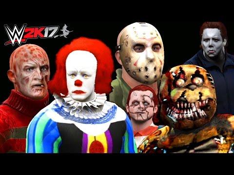Jason vs Freddy Krueger vs Nightmare Freddy vs Michael Myers vs Chucky vs Pennywise   WWE 2K17