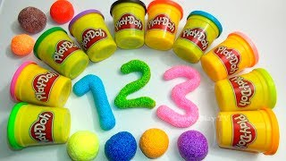 Top 10 Learn Colours Collection with PLAY DOH M&M's Squishy Glitter Foam | Learn to count 1 to 10