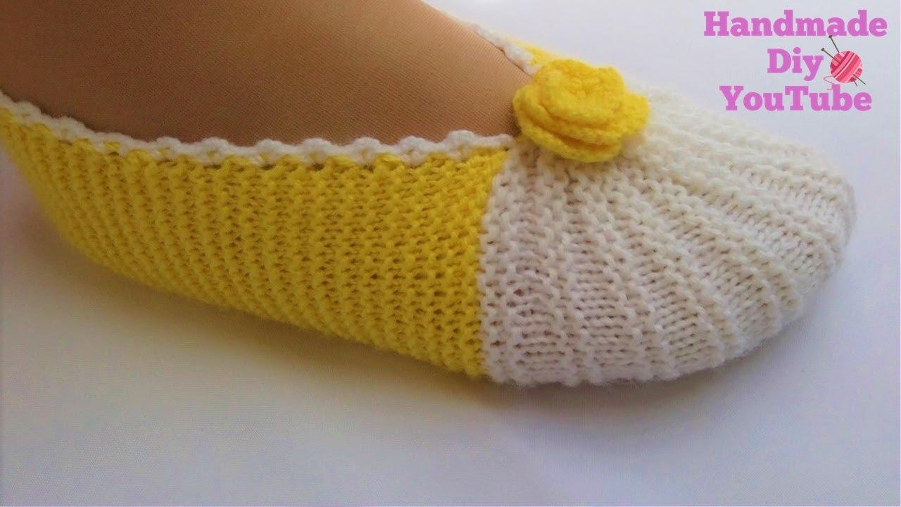 Como Hacer Pantuflas Con Dos Agujas Modelo De Líneas De Sandía Handmade Diy Youtube
