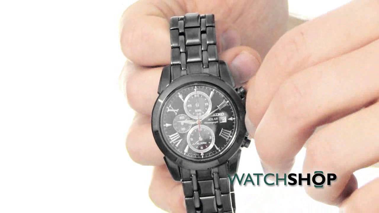 Seiko Men S Alarm Chronograph Solar Powered Watch Ssc219p1 Youtube
