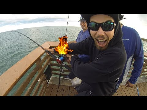 Big Game Reel DESTROYED By Mystery FISH!!! (Florida Pier Fishing)