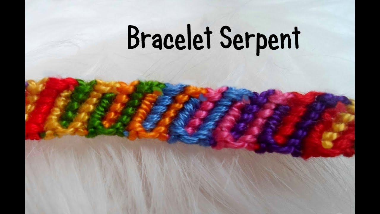 Tutoriel bracelets brésiliens le serpent multicolore (débutant) - YouTube