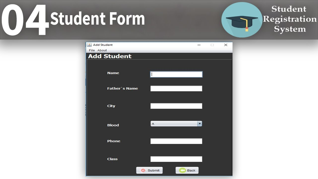 Student Registration Form | Student registration System in java part4