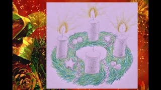 💫 Adventskranz zeichnen - how to draw advent wreath with candles - Рисуем рождественский венок