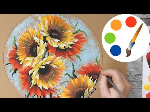 How To Paint Sunflowers, One Stroke Painting