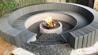 Gambar cover Circular seating and fire pit construction with block & composite