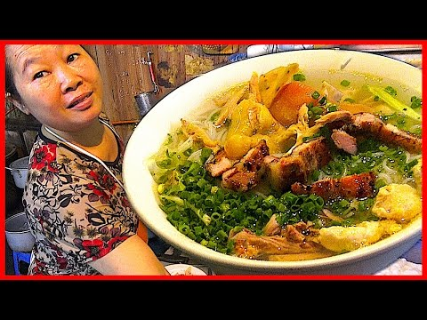 Vietnamese Street Foods Combination - Pho Noodle, Egg Fried rice, Crepe Vietnam BBQ Rib