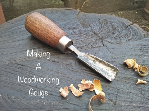 Blacksmith making a woodworking gouge