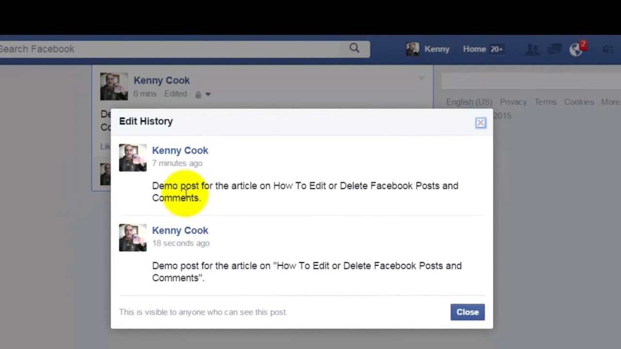 Facebook how to edit or delete posts and comments youtube ccuart Image collections