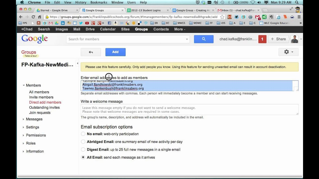 Google Groups - Making An Email List Group - YouTube