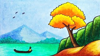 How to Draw Beautiful Lake Scenery Drawing with Oil Pastels