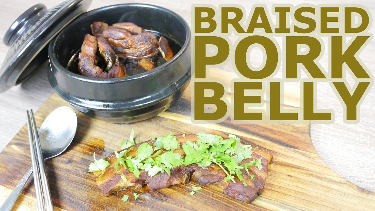 Braised pork belly in clay pot Chinese recipe cooking