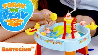Babyccino Today We Play Episode 16 - Fishing Game Board Playset - Surprise Toy Unboxing