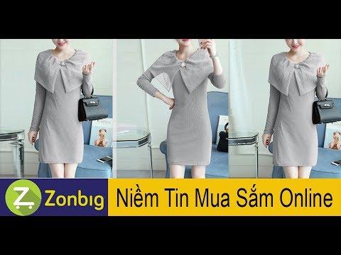 [Zonbig.com] - Đầm Váy Thun Kim Tuyến Body Choàng Vai