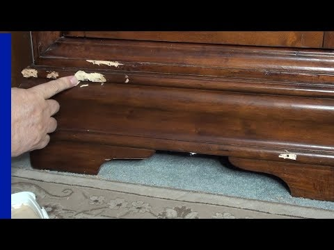 Furniture - How to Repair Chips or dents - furniture touch up - DIY Episode 1 Wine Bottle Cabinet