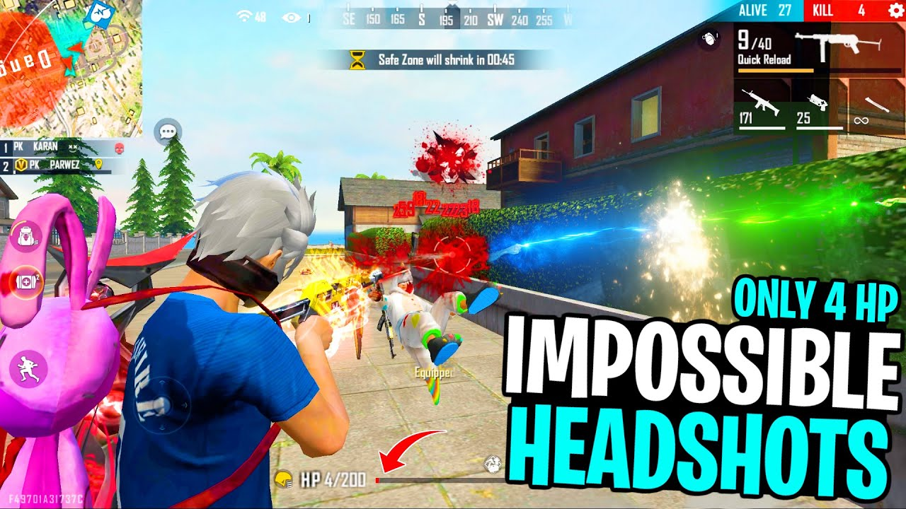 Impossible Headshot Moments In Very Low HP | Garena Free Fire King Of Factory Roof Fight - PK GAMERS