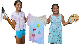 Masal and Öykü made batik t-shirts with colored paints