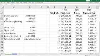 Tilgungsplan für Annuitätendarlehen berechnen - Vorlage [Excel, Beispiel, Erklärung, Darlehen] screenshot 1