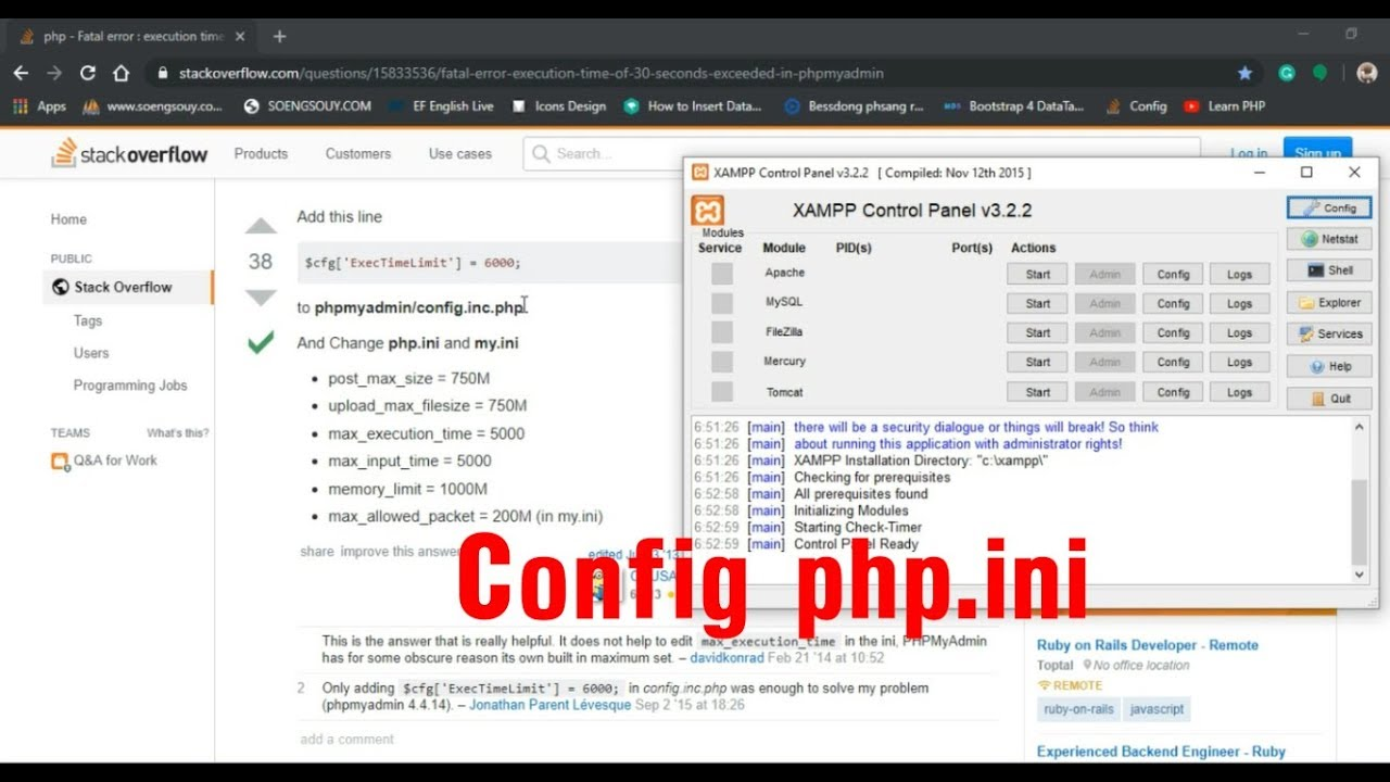 How to config php.ini standar | In XAMPP