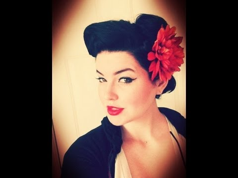Pin-Up Rockabilly Hairstyle Wednesday Hair Look - YouTube