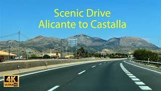 Scenic Drive on Motorway A77/A7 from Alicante to Castalla