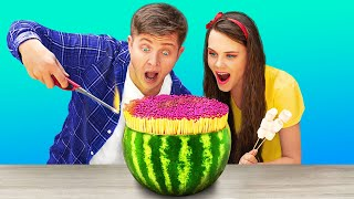 Watermelon vs 100 Layers of Rubber Bands Challenge/ Funny Challenges by Troom Troom Food
