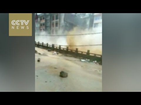 Typhoon Megi shatters building in east China