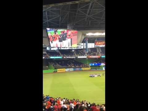 Atlantic Montessori charter school choir singing national anthem him at Marlins baseball game 2016