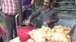 pani puri eating